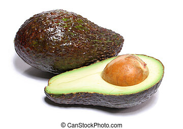 Avocado and a half on white background