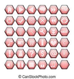Red web butt - Red hexagon web buttons