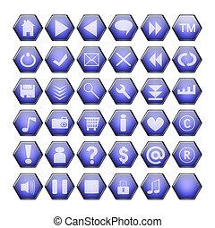 blue web buttons - blue hexagon web buttons