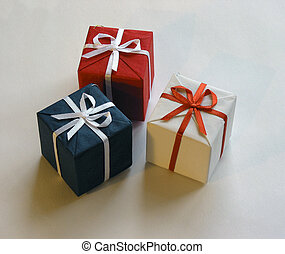 Gift boxes 2 - Three colorful gift boxes on white background