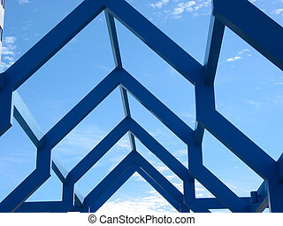 Fragment of a modern structure with blue sky