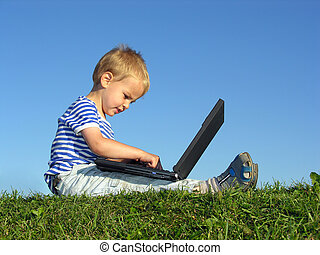 child with notebook - blue, boy, browse, browser, browsing,...