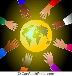 colourful hands - unity in diversity