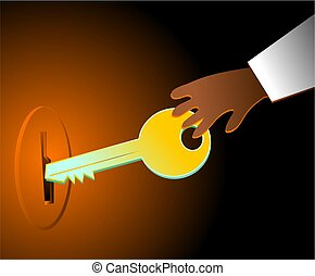 unlock - hand with key in the lock
