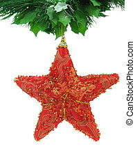 Red christmas star isolated - Red christmas star hanging...
