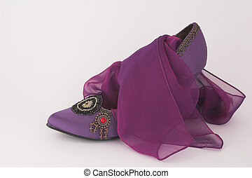Purple shoe with matching scarf - elegant purple shoe with...