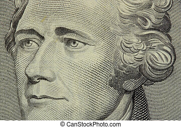 president hamilton face on the ten dollar bill
