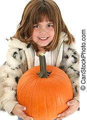 Beautiful Five Year Old Girl With Pumpkin - Beautifulf five...