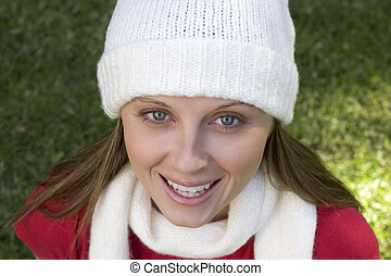 Winter Woman - Smiling winter woman