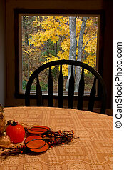 Fall inside and out - Fall decorations on this dining table...