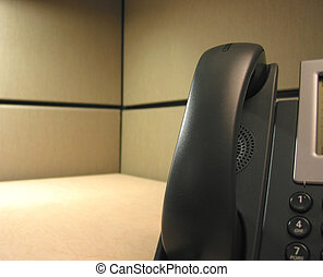 Waiting for your calls IP phone on desk - Black IP Phone on...