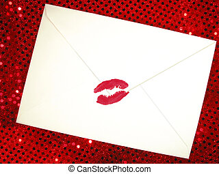 love letter - envelope sealed with a kiss