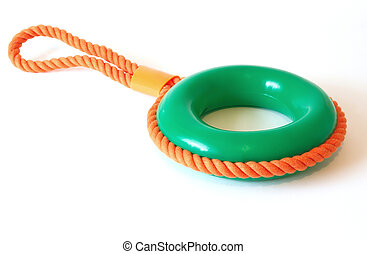 pull ring toy for a dog over a white background