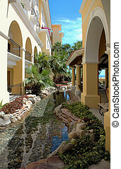 Garden In Cabo - Garden and pond at a resort in Cabo San...