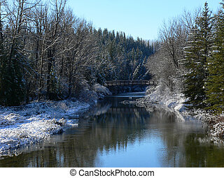 Winter Creek - Fish Creek after snowfall Fish Creek Park,...