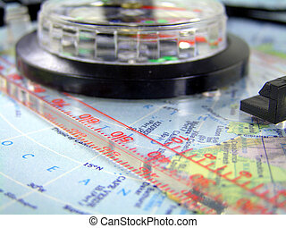 compass on map 2 - compass with ruler on a map of the...