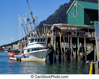 Boat Refueling - Fishing boat refueling in Juneau, Alaka...