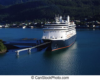 Cruise Ship Docked - Cruise ship docked in Juneau, Alaska...