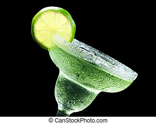 tilted margarita - margarita with lime and salt isolated on...