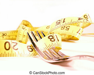 diet on a fork 2 - tape measure wrapped around silver fork...