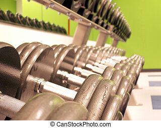 iron to pump - perspective shot of freeweights on the rack...