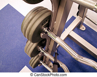 wieght rack - perspective shot of freeweights on the rack in...