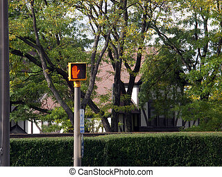 don't walk 2 - pedestrian crossing signal on a pole with out...