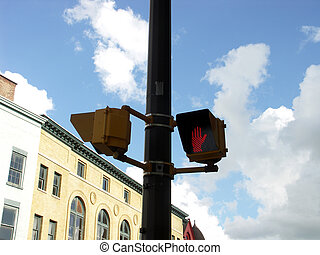 don't walk 3 - pedestrian crossing signal on a pole with out...