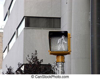 walk 2 - pedestrian crossing signal on a pole with out of...