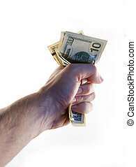 Fist of Money - A male hand holding a tight wad of american...