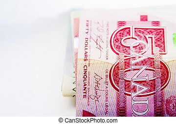 Canadian Bills - Canadian bills on a white background.