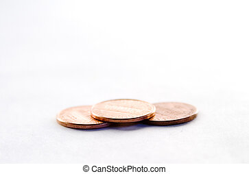 Pennies - Row of pennies with a shallow depth of field