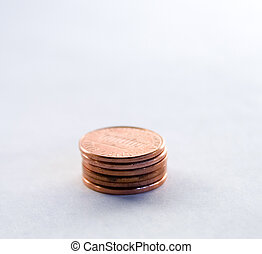 Pennies - stack of pennies with a shallow depth of field