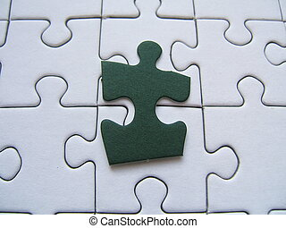 Jigsaw pieces - Jigsaw with one green piece