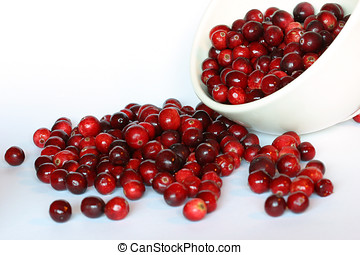 Bowl of cranberries spilling over