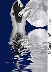 月, 女性