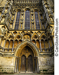 Wells Cathedral - Front entrance to Wells cathedral in...