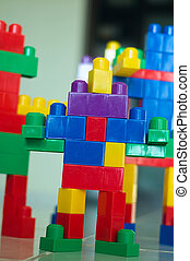 Robot Blocks 01 - A children building blocks toy stacked as...