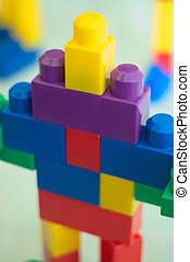 Robot Blocks 02 - A children building blocks toy stacked as...