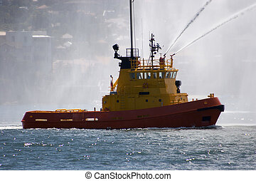 Fire Tug - Fire boat with water spraying