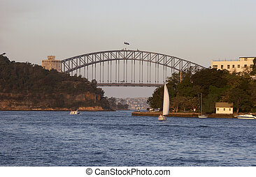 Harbour Bridge - Sydney Harbour Bridge taken near sunset, on...