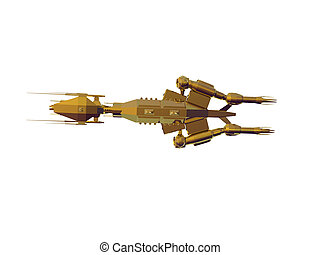 Golden Spaceship Two - Isolated gold spaceship