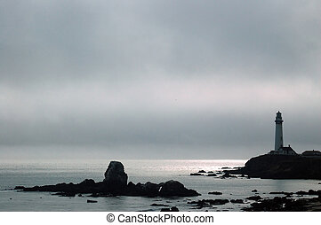 Lighthouse on a Foggy afternoon - A lighthouse on a foggy...