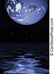 world - Reflection of globe on water
