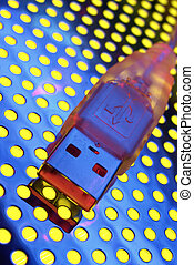 USB data transfer - Usb cable close-up Light brush in use