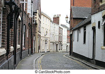 Cobbled Street in Chester England - Old Cobbled Street in...