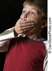 Spine Tingling - Boy with hand over his mouth