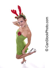 Sexy Christmas Gift - Sexy blond model with reindeer antlers...