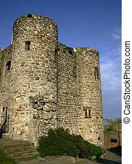 inglês, castelo, torre