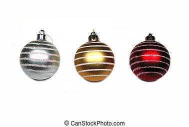 Christmas balls 1-2-3 - 3 isolated Christmas balls on white...
